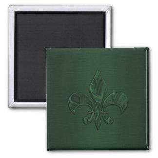Dark Green Fleur de Lis Square Magnet