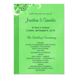 "Dark Green Floral Flat Wedding Program Templates 5"" X 7"" Invitation Card"