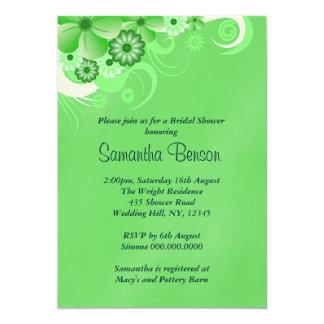 Dark Green Floral Wedding Bridal Shower Invites