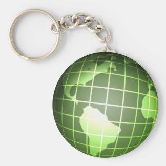 Dark Green Globe Basic Round Button Keychain