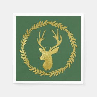 Dark Green Gold Deer Wreath Christmas Napkin Paper Napkins