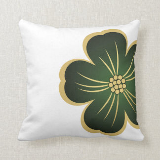 Dark Green & Gold Flower Stripe Throw Pillow