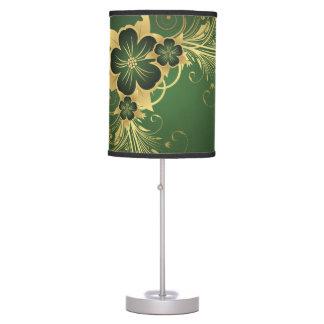 Dark Green & Gold Flower Table Lamp