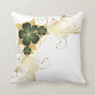 Dark Green & Gold Flower Throw Pillow