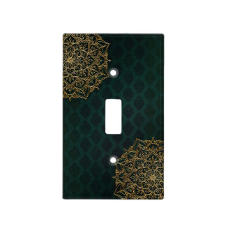 Dark Green & Gold Moroccan Arabian Glam Light Switch Cover