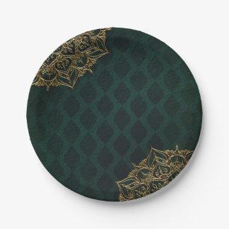 Dark Green & Gold Moroccan Arabian Nights Wedding Paper Plate