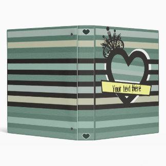 dark green heart binder with stripes