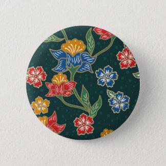 Dark green Indonesian floral vines Batik pattern 2 Inch Round Button