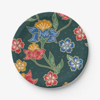 Dark green Indonesian floral vines Batik pattern 7 Inch Paper Plate