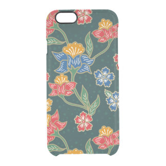 Dark green Indonesian floral vines Batik pattern Clear iPhone 6/6S Case