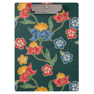 Dark green Indonesian floral vines Batik pattern Clipboard