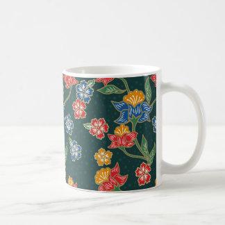Dark green Indonesian floral vines Batik pattern Coffee Mug