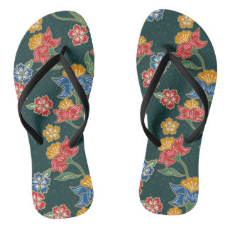 Dark green Indonesian floral vines Batik pattern Flip Flops