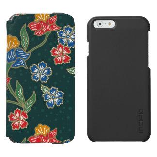 Dark green Indonesian floral vines Batik pattern Incipio Watson™ iPhone 6 Wallet Case