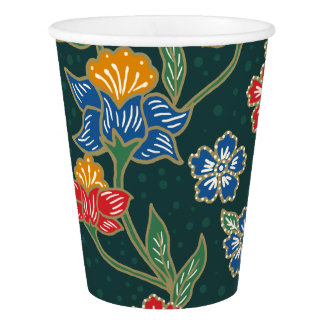 Dark green Indonesian floral vines Batik pattern Paper Cup