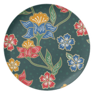 Dark green Indonesian floral vines Batik pattern Party Plate