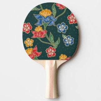 Dark green Indonesian floral vines Batik pattern Ping-Pong Paddle