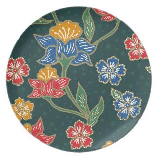 Dark green Indonesian floral vines Batik pattern Plate