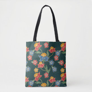 Dark green Indonesian floral vines Batik pattern Tote Bag
