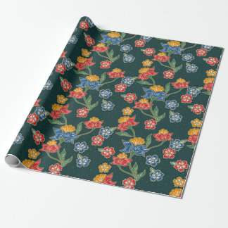 Dark green Indonesian floral vines Batik pattern Wrapping Paper