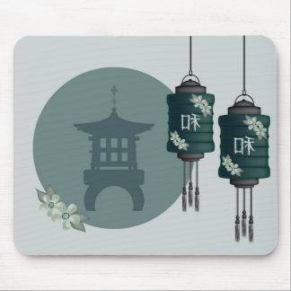 Dark green lanterns and a pagoda Mousepad