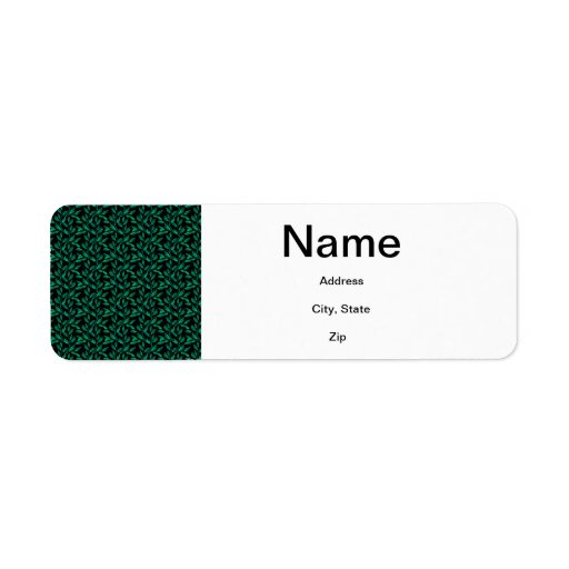 Dark Green Leaf Pattern Return Address Labels