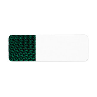 Dark Green Leaf Pattern Custom Return Address Label