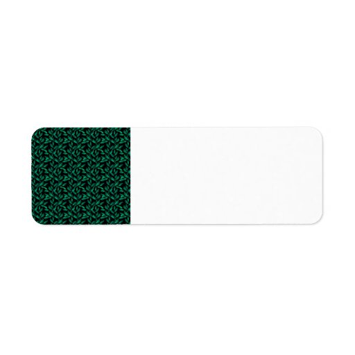 Dark Green Leaf Pattern Custom Return Address Label