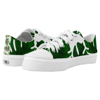 Dark Green Leaves Tropical Palm Sparkle Chic Low-Top Sneakers