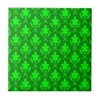 Dark Green & Light Green Ornate Wallpaper Pattern Ceramic Tile