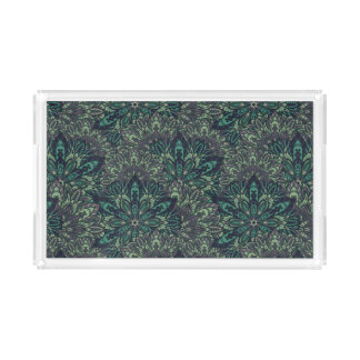 Dark green mandala pattern. acrylic tray