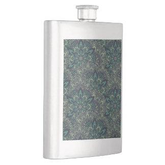 Dark green mandala pattern. hip flask