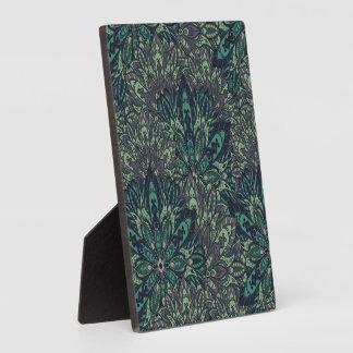 Dark green mandala pattern. plaque