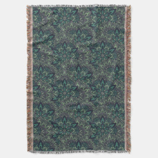 Dark green mandala pattern. throw blanket