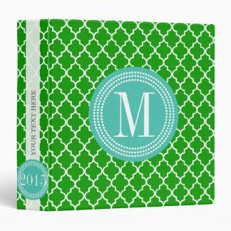 Dark Green Moroccan Tiles Lattice Personalized Vinyl Binder