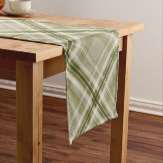 dark green olive beige tartan plaid pattern short table runner