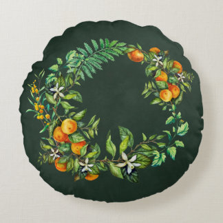 Dark Green Round Pillow with Mandarin Motive