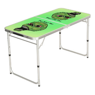Dark Green Scary Screaming Skull Glowing Green Pong Table