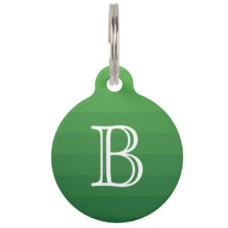 Dark Green Shades Stripes Monogram Initial Simple Pet ID Tag
