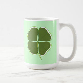Dark Green Shamrock, Four Leaf Clover mugs