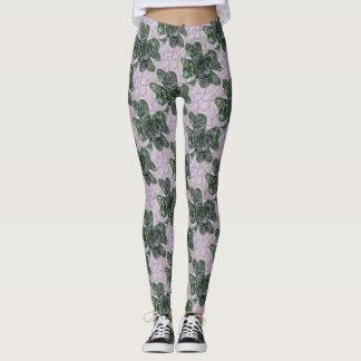 Dark Green Shamrock Rose Patterned Leggings