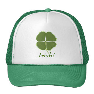 Dark Green Shamrock, with outline, Irish hats