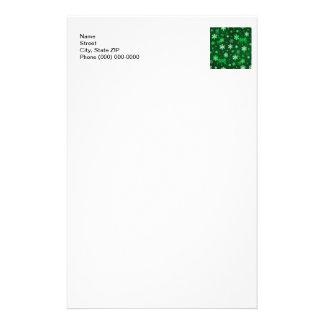Dark Green Snowflakes Stationery Design