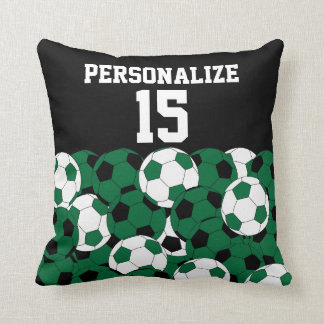 Dark Green Soccer Ball Collage | DIY Name & Number Throw Pillow