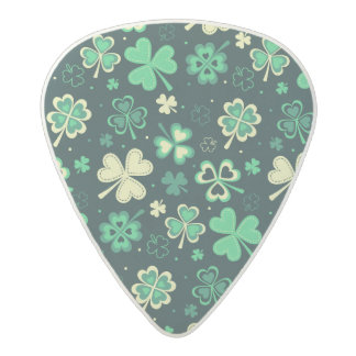 Dark green St Patrick lucky shamrock pattern Acetal Guitar Pick