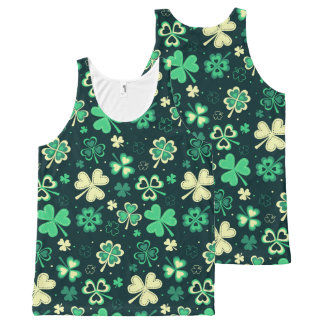 Dark green St Patrick lucky shamrock pattern All-Over-Print Tank Top