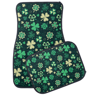 Dark green St Patrick lucky shamrock pattern Car Mat