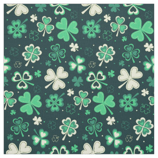 Dark green St Patrick lucky shamrock pattern Fabric