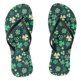 Dark green St Patrick lucky shamrock pattern Flip Flops