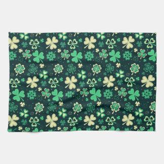 Dark green St Patrick lucky shamrock pattern Kitchen Towel